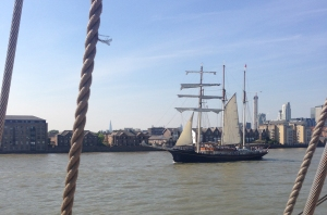 The ship Gulden Leeuw sails past us