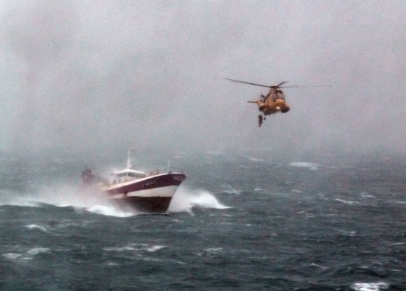 Royal Navy Sea King Helicopter Comes to the Aid of French Fishing Vessel 'Alf' in the Irish Sea